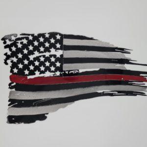 Tattered Red Line Flag